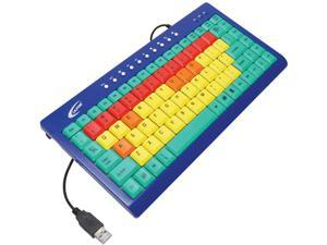 Ergoguys KB1 USB or PS/2 Wired Slim Califone Kids Computer Keyboard USB Color Coded Keys