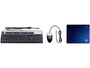 HP KF886AA#ABA Black Wired PS/2 Mouse/Keyboard/Mouse Pad Kit