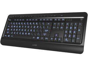 AZIO KB505U Black USB Wired Standard Large Print 3 Color Backlit Keyboard