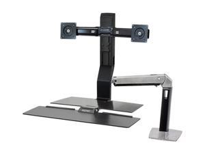 Ergotron 24-272-026 WorkFit-A, Dual Monitor Sit-Stand Workstation, with Worksurface (Polished aluminum/Black)