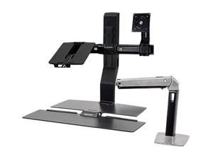 Ergotron 24-273-026 WorkFit-A, LCD & Laptop Sit-Stand Workstation, with Worksurface(Polished aluminum/Black)