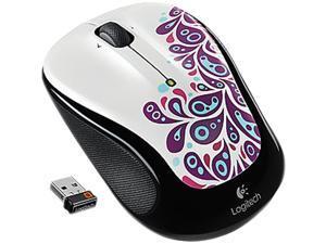 Logitech M325 910-002964 White Paisley Tilt Wheel USB RF Wireless Optical Mouse