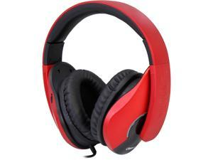 SYBA Oblanc SHELL210 Dual Driver Speaker Headphones, 2.1 Listening Experience for Gamers, Red
