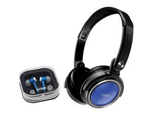 COBY CV215 Headphones: Circumaural / Earphones: Canal 2 in 1 Combo Deep Bass Stereo Headphone & Earphone