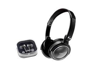 COBY CV215SVR Circumaural & Earbud 2 in 1 Combo Deep Bass Stereo Headphones & Earphones