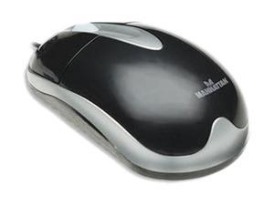 Manhattan 177009 Silver/Black 3 Buttons 1 x Wheel PS/2 Wired Optical MH3 Classic Desktop Mouse