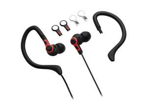 iHome Black NB439B Binaural Black 2-in-1 Sport Earbuds with Removable Ear Hooks