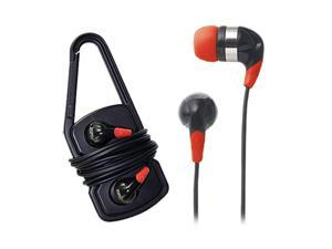 iHome Black NB440B Sport Earbuds with Carabiner Clip Cord Wrap-Black