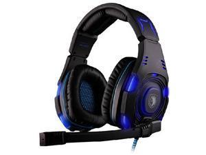 SADES SA-907 USB Connector Circumaural PC Gaming Headset w/ Microphone + Volume Control - Black/Blue