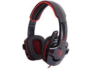SADES SA-901 USB Connector Circumaural PC Gaming Headset w/ Microphone + Volume Control - Black/Red