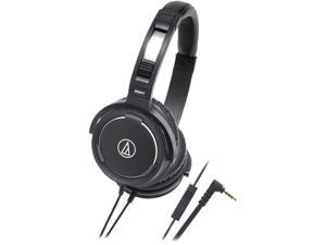 Audio-Technica Black ATH-WS55IBK 3.5mm L-type, mini-stereo, gold-plated Connector Solid Bass In-Ear Headphone W/ Control ...