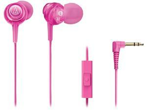 Audio-Technica ATH-CKL202iSPK Pink In-Ear Communication Earbuds with Microphone (Pink)