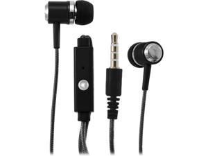 Sentry Black HPS-HM371 3.5mm Connector MicBuds Metal Stereo Ear Buds With Built-In Mic