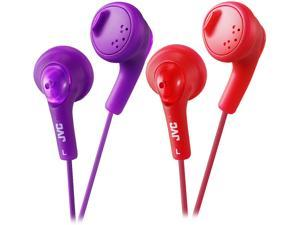JVC Gumy Ear Bud Purple violet & Red iPhone compatible, Gold Plated Connector Earbud 2pk Bundle Basic Gummy Earbud Headphones