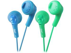 JVC Gumy Ear Bud Blue & Green iPhone compatible, Gold Plated Connector Earbud 2pk Bundle Basic Gummy Earbud Headphones