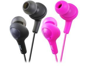 JVC Gumy Plus Inner-Ear Black & Pink iPhone compatible, Gold Plated Connector Canal 2pk Bundle Gummy Plus Inner Ear Headphones