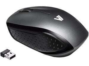 V7 Wireless Mobile Optical LED Mouse MV3050200-8NB Black/Gray 3 Buttons 1 x Wheel USB RF Wireless Optical Mouse