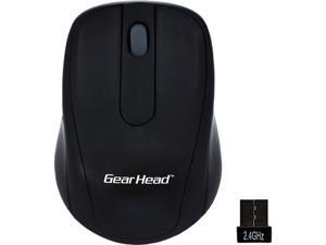 GEAR HEAD 2.4 GHz Wireless Optical Nano Mouse MP2120BLK Black 2 Buttons 1 x Wheel Bluetooth RF Wireless Optical Mouse