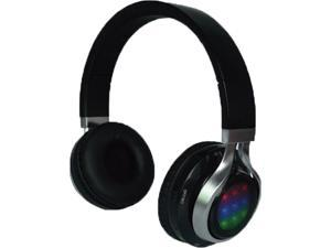QFX Black H-252 BLK 3.5mm Connector Bluetooth Headphones With Disco Lights and FM Radio