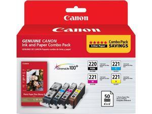 Canon Canon PGI-220 & CLI-221, Cartridge 220, Cartridge 221 (2945B011) Ink and Paper Combo Pack Black / Cyan / Magenta / ...