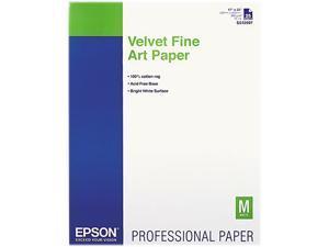 EPSON Velvet Fine Art Paper, 17 x 22, White, 25 Sheets/Pack