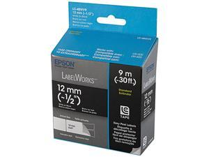 "EPSON LC-4BWV9 LabelWorks Standard LC Tape Cartridge ~1/2"" White on Black"