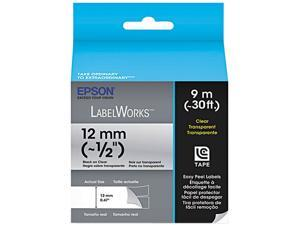 "EPSON LC-4TBN9 LabelWorks Clear LC Tape Cartridge ~1/2"" Black on Clear"