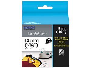 "EPSON LC-4WBQ5 LabelWorks Iron on (Fabric) LC Tape Cartridge ~1/2"" Black on White"