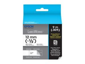 "EPSON LC-4WBW9 LabelWorks Strong Adhesive LC Tape Cartridge ~1/2"" Black on White"
