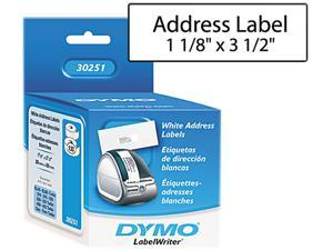 DYMO 30251 Address Labels, 1-1/8 x 3-1/2, White, 260/Box