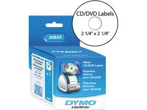DYMO 30854 CD/DVD Labels, 2-1/4in dia, White, 160/Box