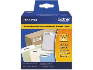 "Brother DK1204  Die-Cut Multipurpose Labels, .66"" x 2.1"", White, 400/Roll"