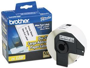 """Brother DK1208 Die-Cut Address Labels, 1.4"""" x 3.5"""", White, 400/Roll"""