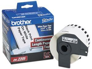 "Brother DK2205 Continuous Paper Label Tape, 2.4"" x 100ft Roll, White"