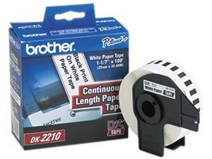 "Brother DK2210 Continuous Paper Label Tape, 1.1"" x 100ft Roll, White"