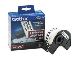 "Brother DK2211 Continuous Film Label Tape, 1.1"" x 50ft Roll, White"