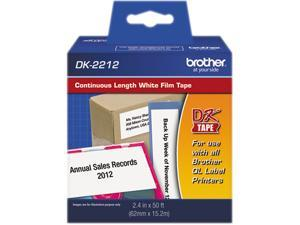 "Brother DK2212 Continuous Film Label Tape, 2.4"" x 50ft Roll, White"