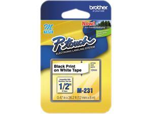 Brother P-Touch M231 M Series Tape Cartridge for P-Touch Labelers, 1/2w, Black on White