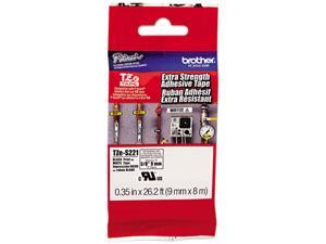 "Brother TZES221 9mm (0.35"") Black on White Tape with Extra Strength Adhesive 8m (26.2 ft)"
