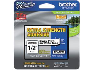 "Brother TZES231 12mm (0.47"") Black on White Tape with Extra Strength Adhesive 8m (26.2 ft)"