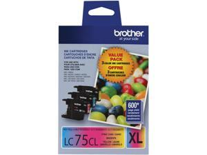 brother LC753PKS LC75CL 3 Pack Ink Cyan, Magenta, Yellow