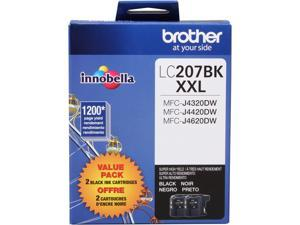 Brother LC207BK XXL 2-Pack Innobella Super High Yield Ink Cartridges 1,200 page yield for MFC-J4420DW, MFC-J4620&#59; Black (LC2072PK)