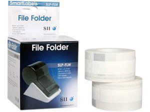 Seiko Self-Adhesive Folder Labels, 9/16 x 3-7/16, White, 260/Box