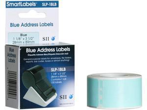 "Seiko Address Label SLP-1BLB - 3.5"" Width x 1.12"" Length - 130/Roll - 1 / Box - Blue"