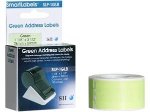 "Seiko Address Label SLP-1GLB - 3.5"" Width x 1.12"" Length - 130/RollBox - Green"