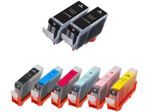 Green Project Compatible Ink Cartridge Replacement for Canon (2pc. PGI5BKR , 1pc. CLI8BKR , 1pc. CLI8CR , 1pc. CLI8MR , 1pc. CLI8YR , 1pc. CLI8PCR , 1pc. CLI8PMR) 8 Pack