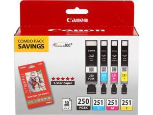 Canon PGI-250/CLI-251 4-Pack Color Cartridge Combo Pack with Photo Paper 50 Sheets&#59; 1 PGI-250 Black, 1 CLI-251 Cyan, 1 CLI-251 Magenta, 1 CLI-251 Yellow (6497B004)