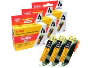 KODAK Remanufactured Ink Cartridge Combo Pack Compatible With Canon PGI-220 (2945B004) High-Yield 3 Black Cartridges