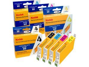 Kodak remanufactured Epson 60 combo inkjet pack, B / C / M / Y, compatible with Epson Stylus C 68 / 88, CX3800 / 3810 / 4200 / 4800 / 5800F / 7800