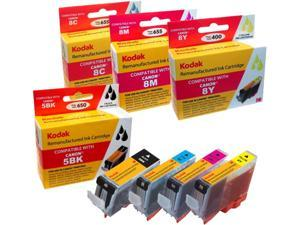KODAK Remanufactured Ink Cartridge Combo Pack Compatible With Canon 5 / 8 / PGI-5BK / CLI-8 (0628B027) High-Yield Black, Cyan, Yellow, Magenta